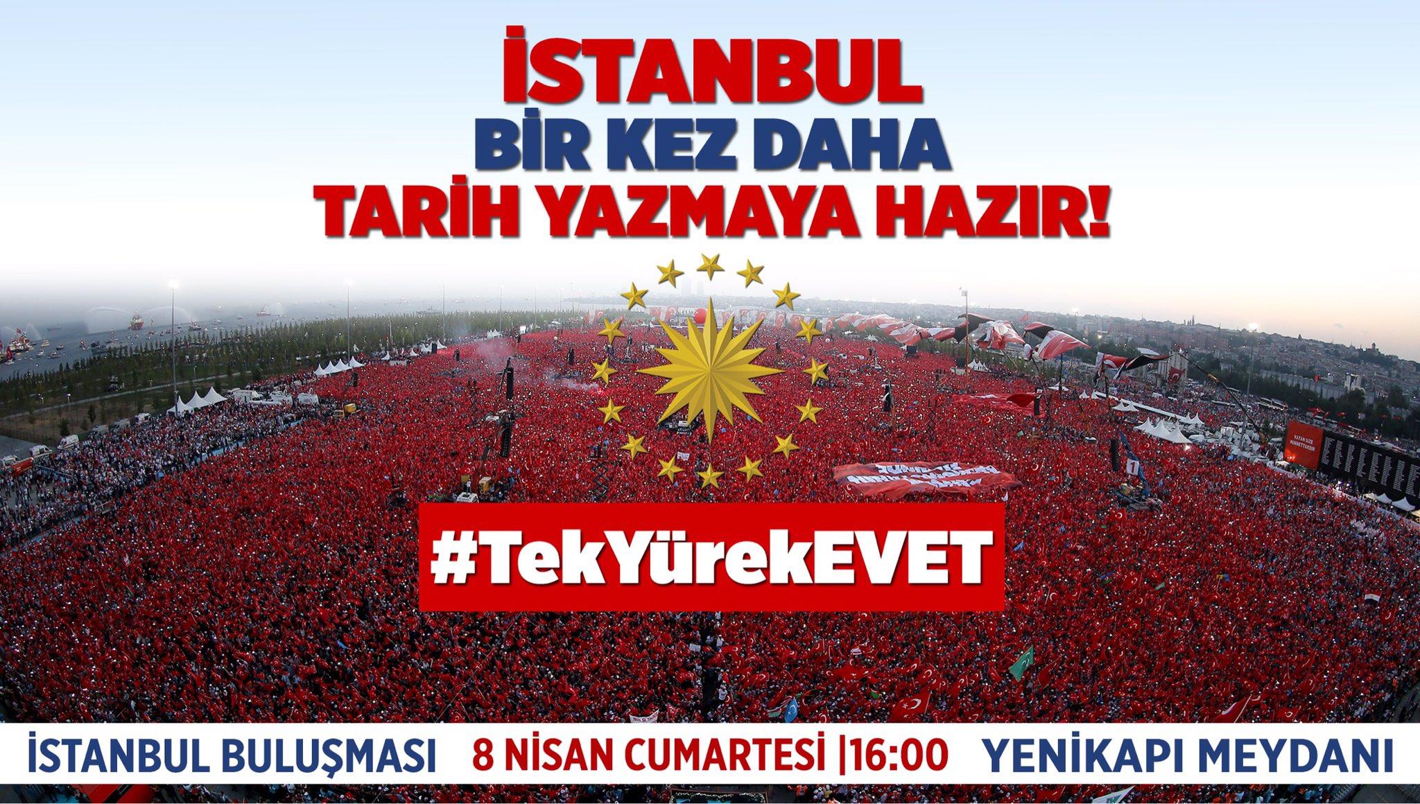 İstanbul bugün bir kez daha tarih yazacak. Saat 16:00'da, Yenikapı Meydanı'nda.  #TekYürekEVET https://t.co/gwkjJK8ZmC