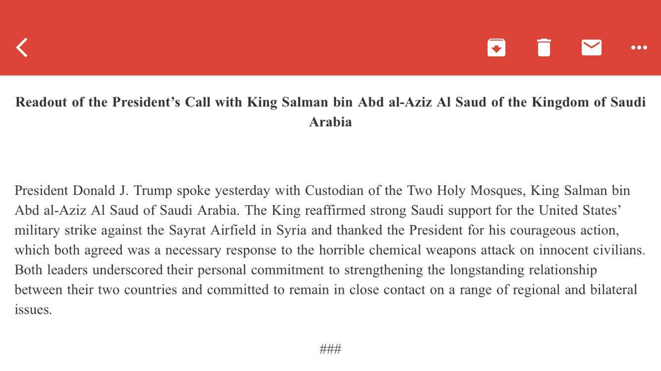 Readout of the President's Call with King Salman bin Abd al-Aziz Al Saud of the Kingdom of Saudi Arabia https://t.co/Nr3CWMVMUV