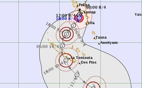 Tropical Cyclone Cook hits Vanuatu, strengthens