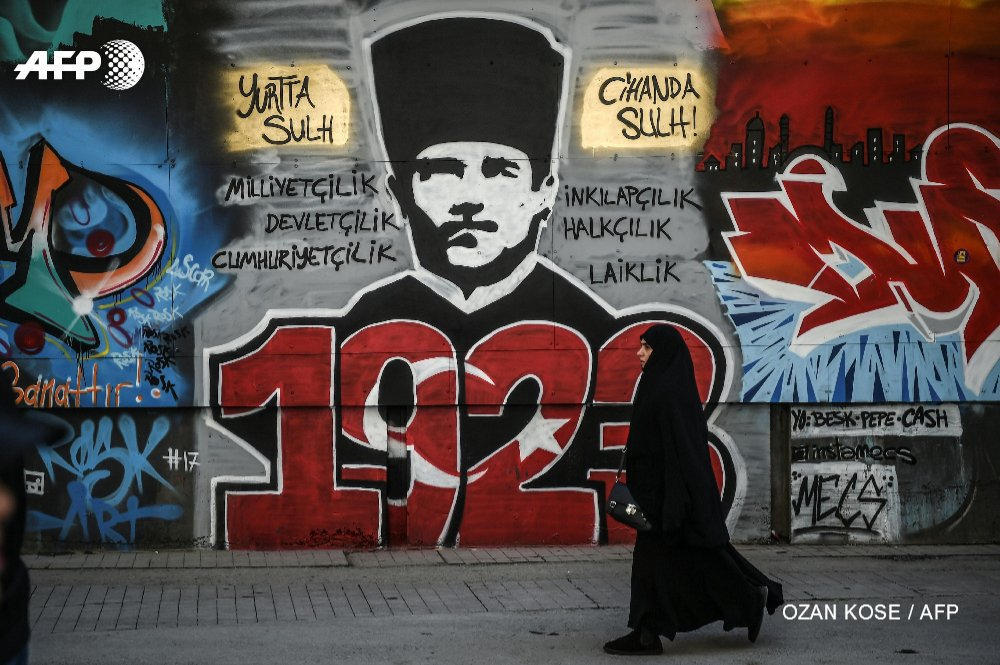 Graffiti In Istanbul Depicts The Founder Of Modern Turkey Mustafa Kemal Ataturk As The Nation Gears