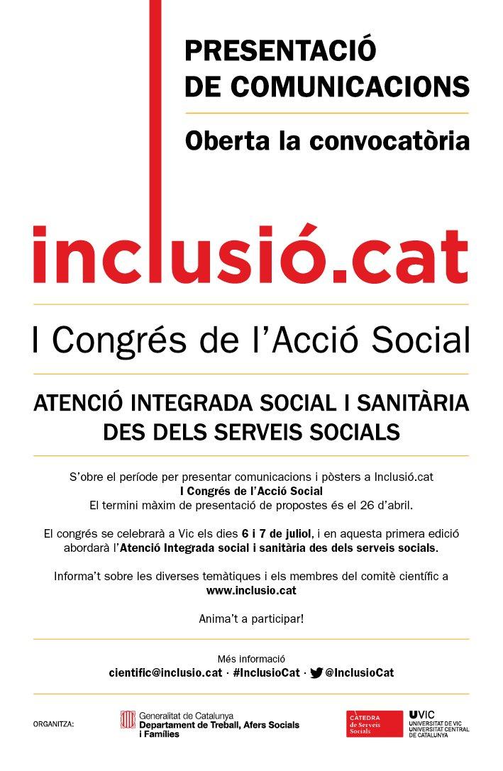 provar Twitter Mitjans - 🖍️ S'obre el període per presentar comunicacions i pòsters a @InclusioCat pel I Congrés de l'Acció Social. Fins el 26 d'Abril! Més info ⬇️⬇️ https://t.co/NNeSmIrLyU