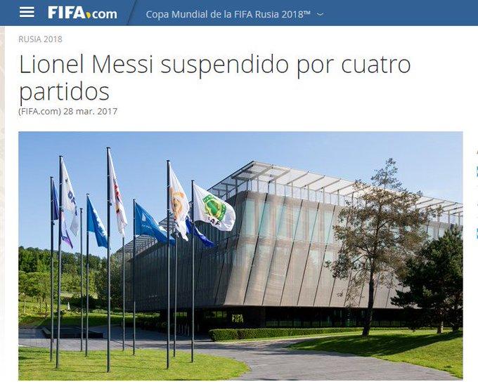 El comunicado de FIFA: Messi se perderá los partidos ante Bolivia, Uruguay, Venezuela y Perú. Volverá para la última fecha, vs. Ecuador.