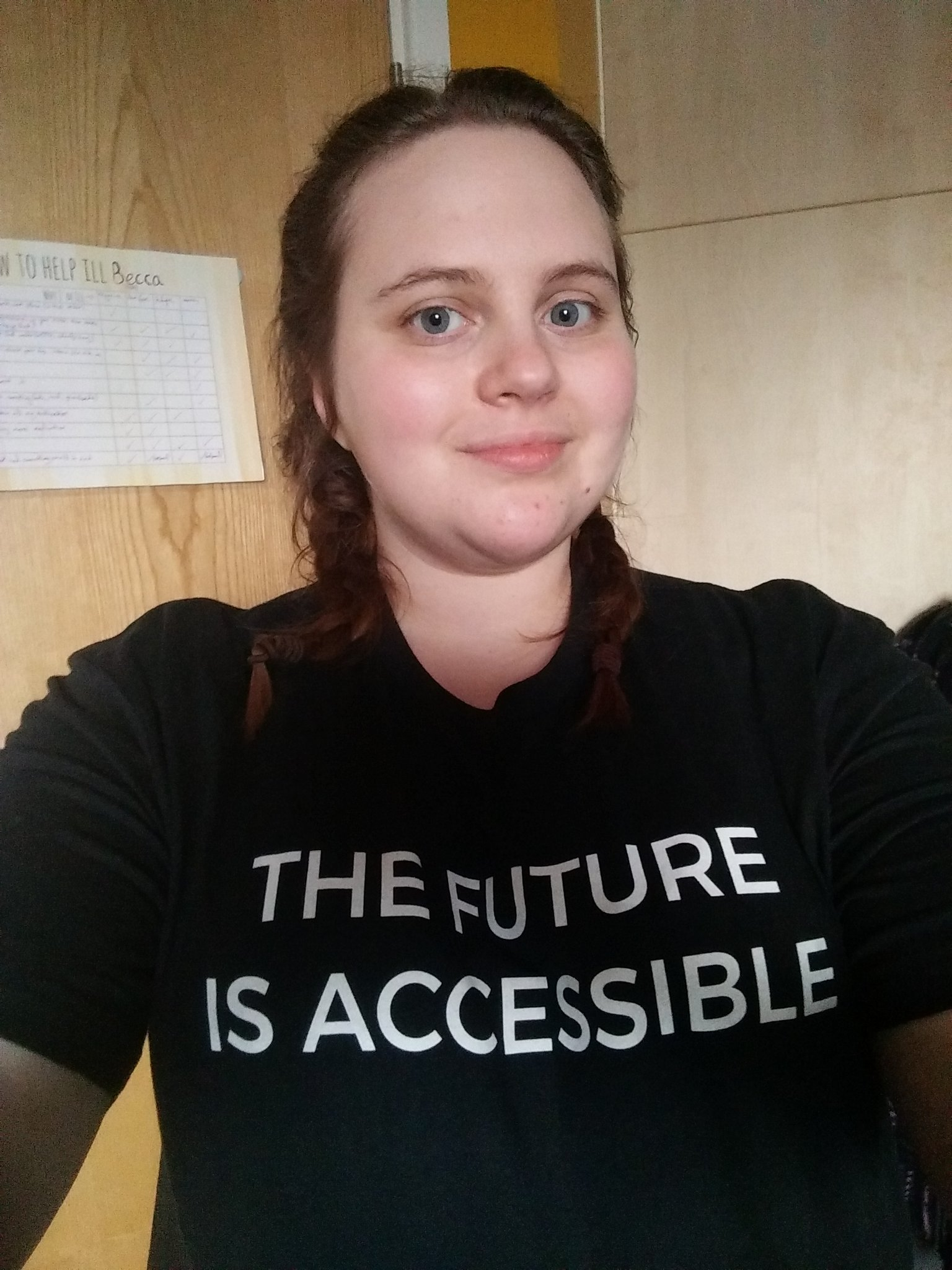 The future is accessible T-shirt by @annieelainey  made it to the UK and I love it. #disability https://t.co/D4JXXBpJho