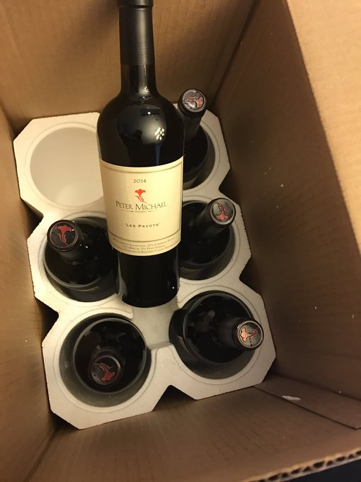 1 pic. And today at the office .... just in time for my birthday! Yum! #PeterMichaelWines https://t.
