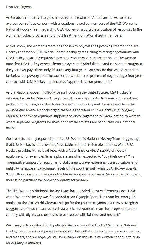 'These elite athletes indeed deserve fairness and respect.'  Now, 14 senators are backing the U.S. women's hockey team in the wage dispute.