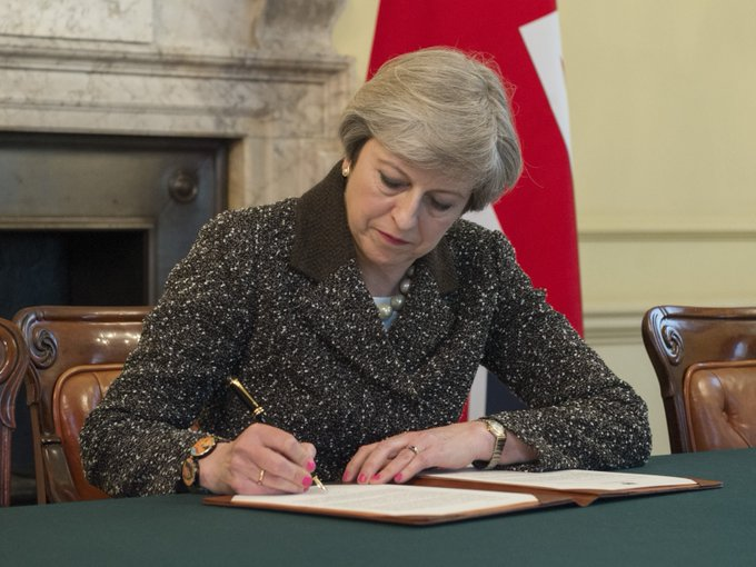 The PM has signed the letter which will trigger Article 50 tomorrow, starting negotiations for the UK to leave the EU.