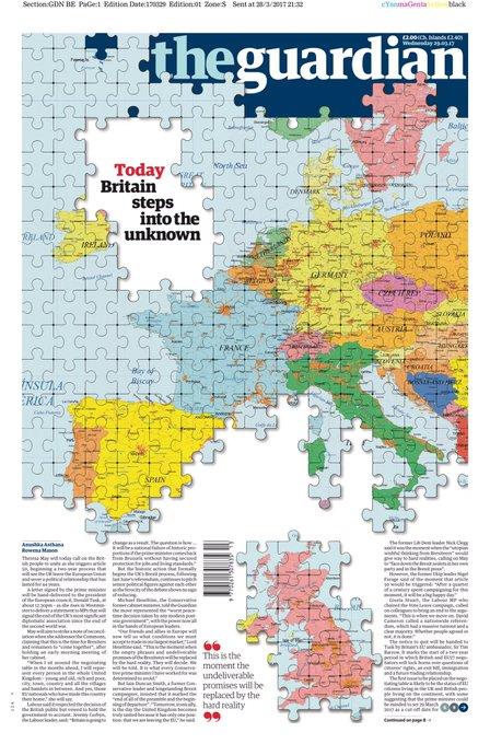 La une du 'Guardian' avec des pièces en moins au puzzle européen. #Brexit