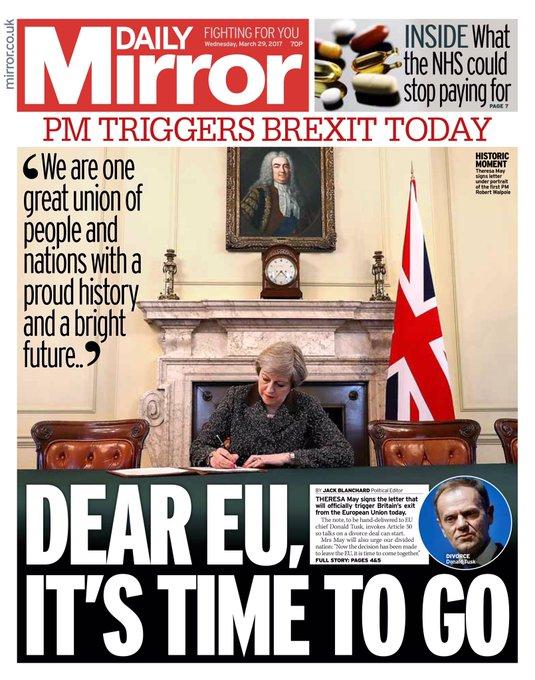 Une photo à la une de la presse britannique. #Brexit