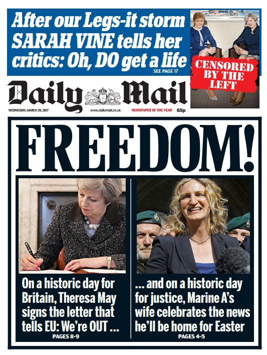 MAIL FRONT PAGE: 'Freedom!' #skypapers