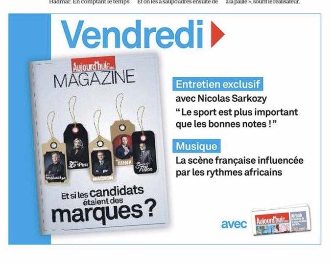 Nicolas Sarkozy : 'Le sport est plus important que les bonnes notes !' In @LeParisienMag de vendredi déjà annoncé ce mercredi. #Punchline