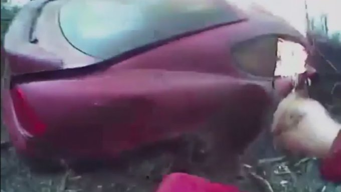 Body cam footage shows Oklahoma deputy rescuing driver from burning car  https://t.co/iv9fXwzTmL