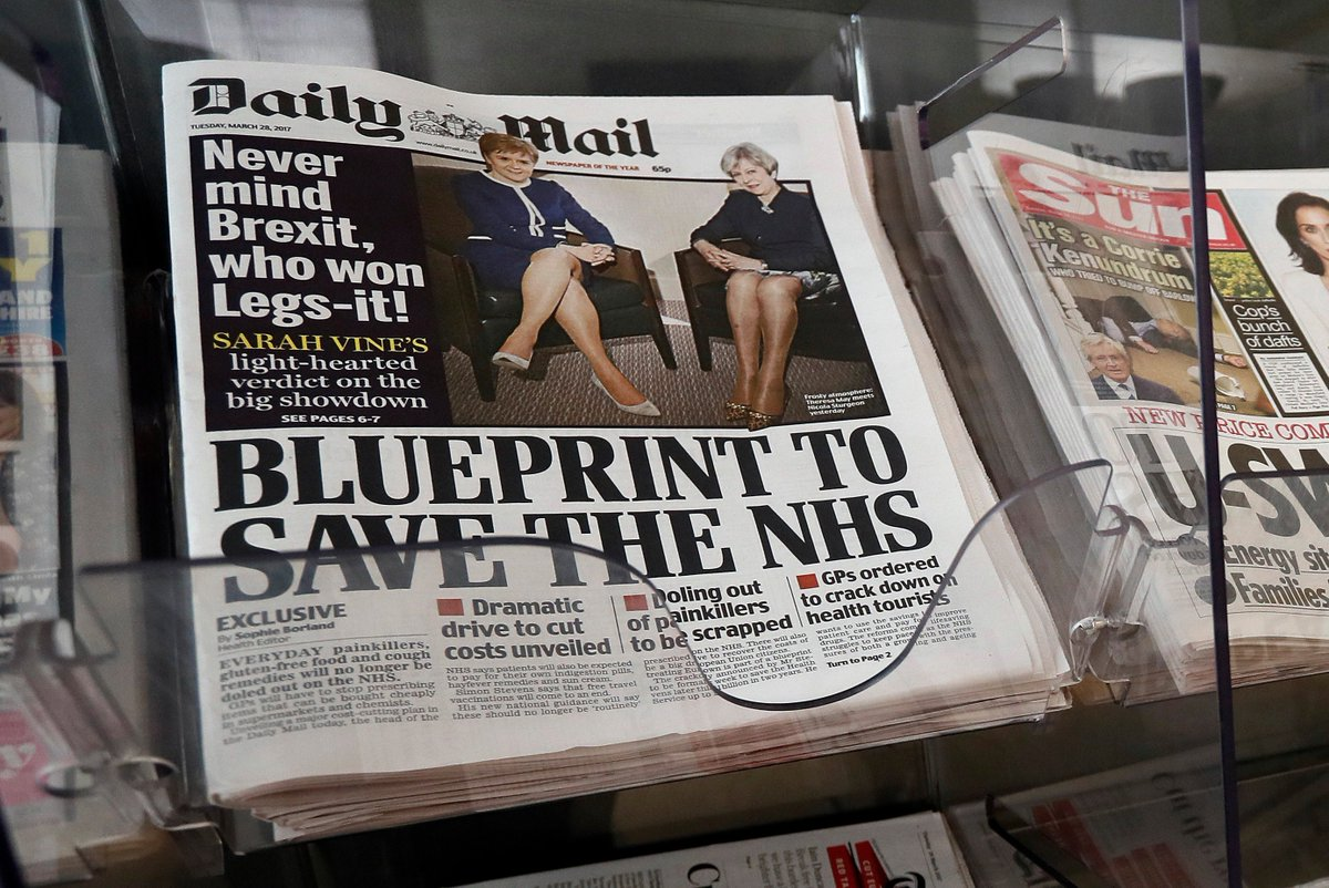 'Legs-it.'  @DailyMailUK is under fire for its latest cover featuring UK PM Theresa May and Scottish First Minister Nicola Sturgeon.