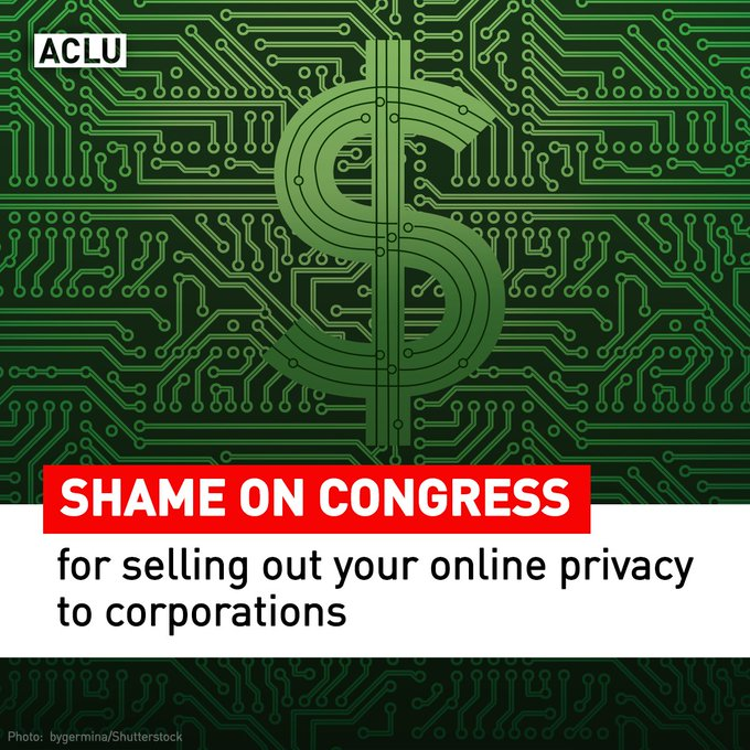 BREAKING: Congress votes to gut #broadbandprivacy protections.