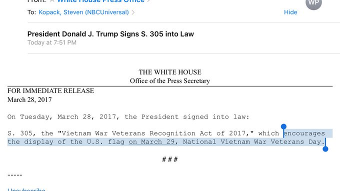 Trump signs bill into law that 'encourages the display of the U.S. flag on March 29, National Vietnam War Veterans Day.'