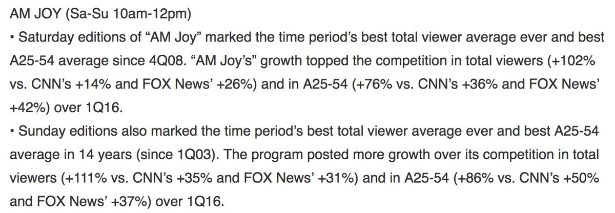 A big THANK you to our #AMJoy viewer family for a great 1st quarter and a record-setting March! 1Q2017 Nielsens: https://t.co/ucXeWwyhRs