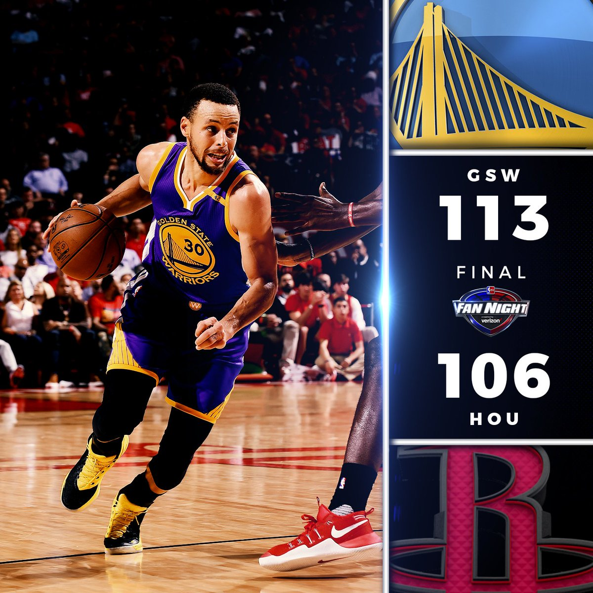 Steph Curry ignites for 32 points, 10 rebounds & 7 assists to lead the @warriors over Houston! #FanNight