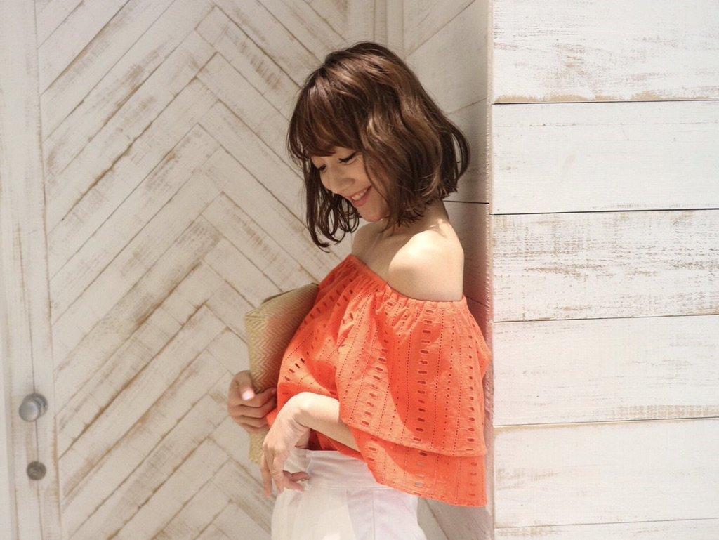 《 NEW ARRIVAL 》#ストライプカットワークブラウスoffwhite/orange/navy¥9,180可愛い