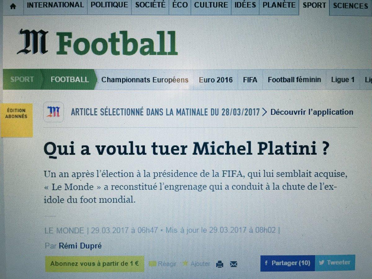 Qui a voulu tuer Michel Platini ? Dans la revue de presse de @a2linefrancois à 8h35 dans #RTLMatin > https://t.co/r32D2Mz0mj