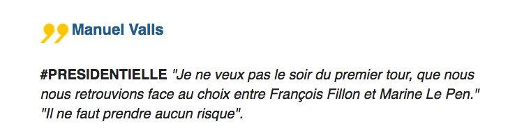 #Presidentielle2017 Est-ce que vous voterez pour Emmanuel Macron ? 'Oui', répond Valls, qui met en avant 'la marginalisation' de Hamon