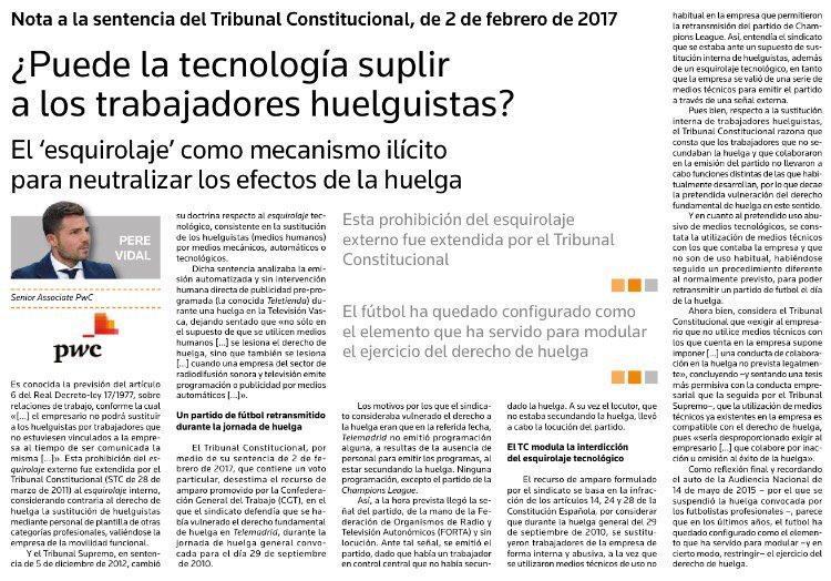 RT @pvidal_: ¿Puede la tecnología suplir a los trabajadores huelguistas? #Actualidad #Jurídica Aranzadi https://t.co/5yoOZo09Et