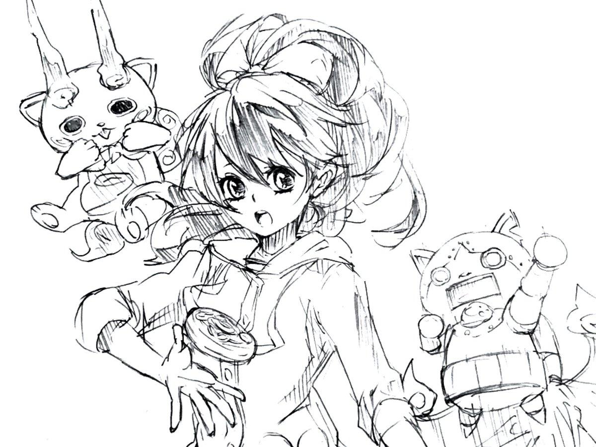 フミちゃん見たいと言って貰ったので、短時間だけど描いてみたコマさんとゴルニャンのおまけ付き#妖怪ウォッチ