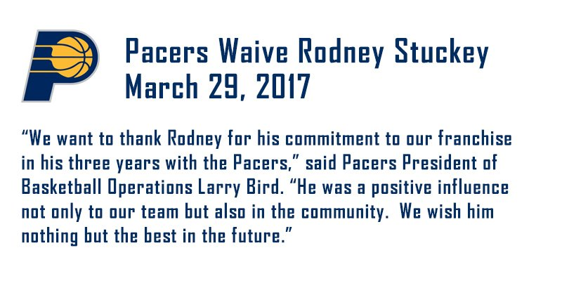 OFFICIAL The #Pacers have waived guard Rodney Stuckey.Story ➡️