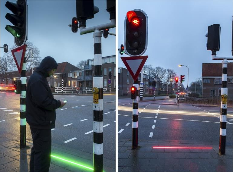 Good? Bad? Really?! What Do You Think... Dutch Town Installed (light  Sabers) Traffic Lights On The Ground In Order To Alert Text Walkers    Scoopnest.com