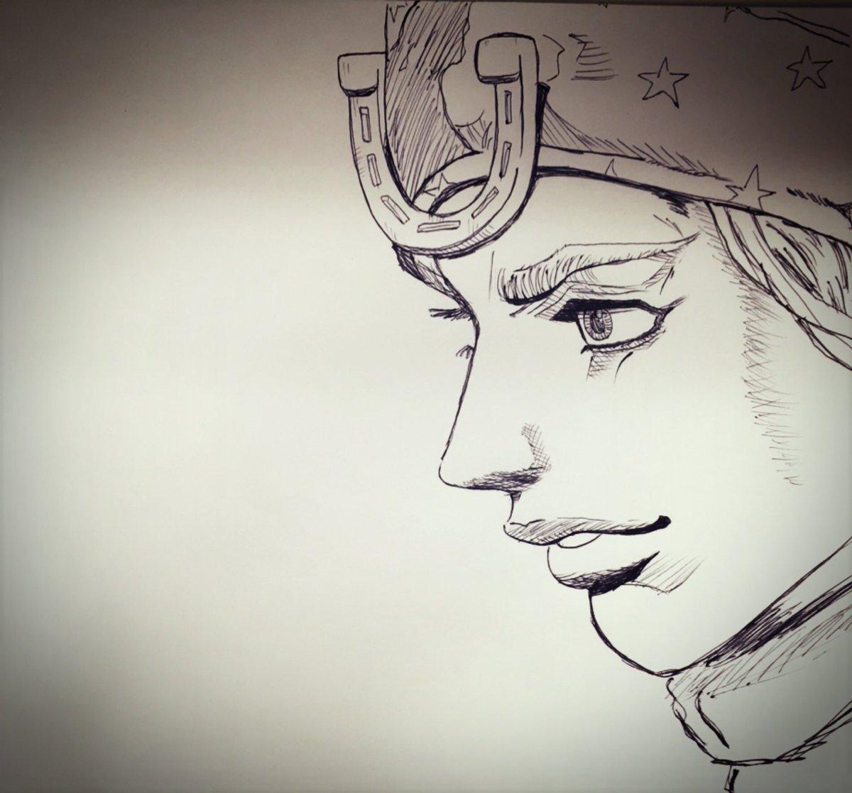おはよーぐると!やっぱりジョニィ・ジョースターが1番好きやなぁ#ジョジョ #JOJO #ボールペン画