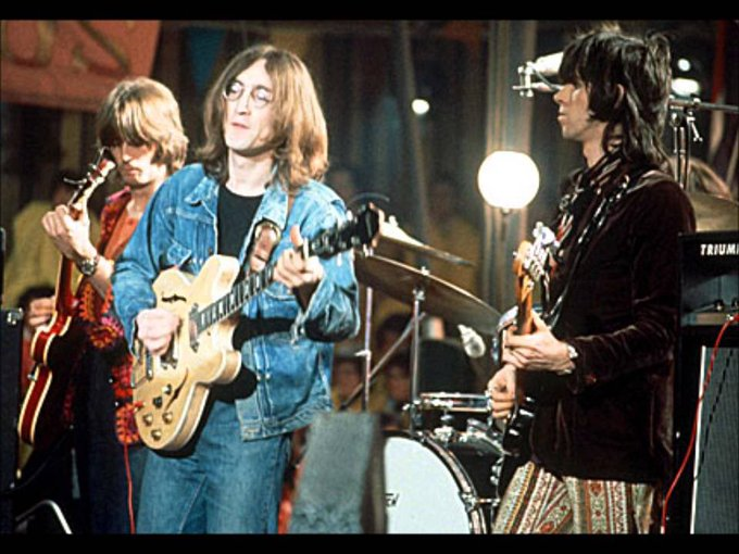 Happy birthday to Eric Clapton, seen here with John Lennon & Keith at the Rolling Stones Rock\n\Roll Circus