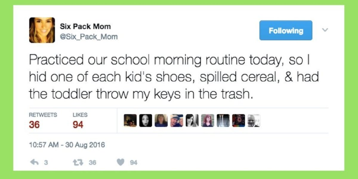 RT @HuffPostParents: 23 tweets that prove there's nothing easy about mornings as a parent https://t.co/wo7I6AIdv2 https://t.co/7bQHE1NsBe