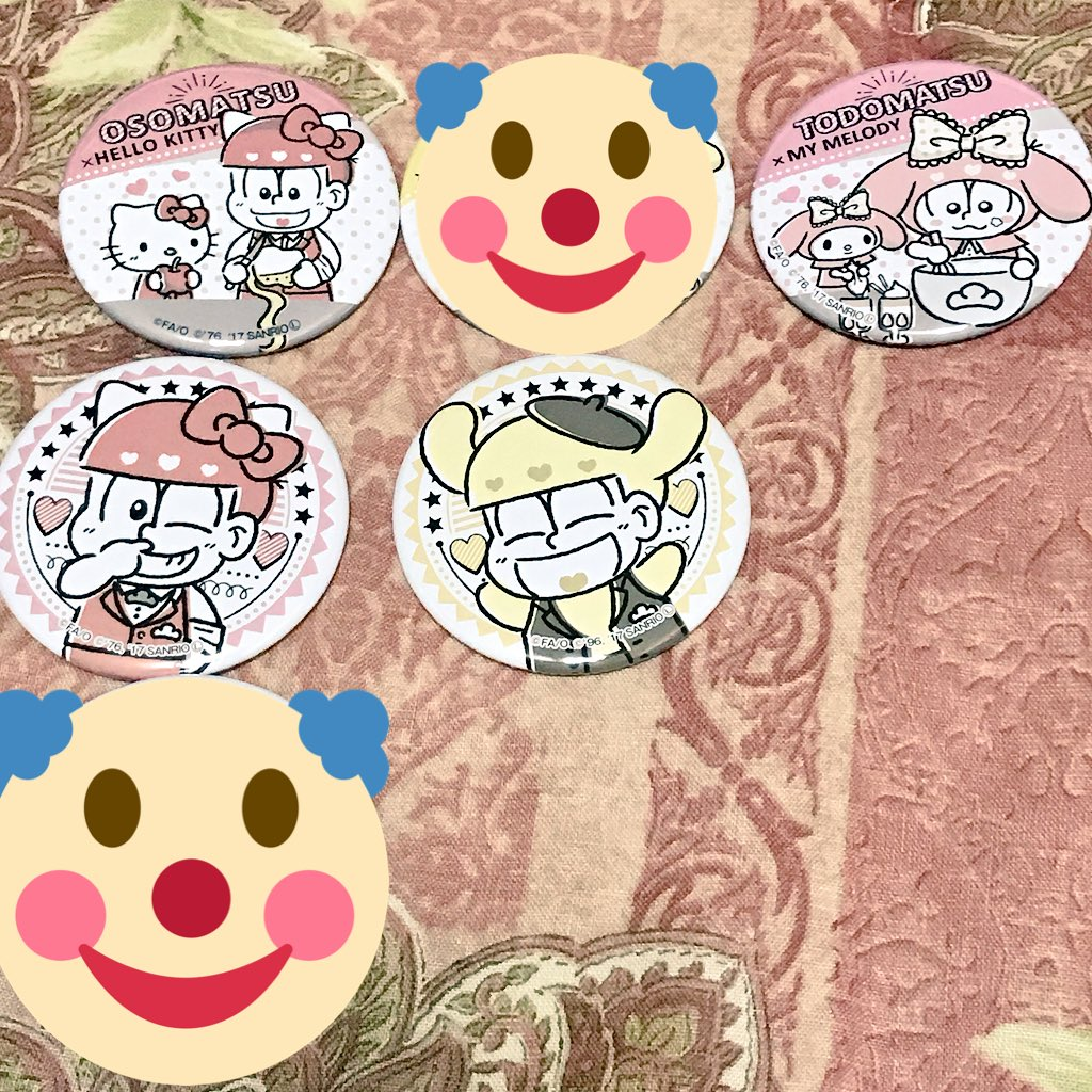 【おそ松さん】サンリオキャラクターズカフェ大阪・原宿 缶バッジ譲:料理/おそ松、トド松アップ/おそ松、十四松求:各450
