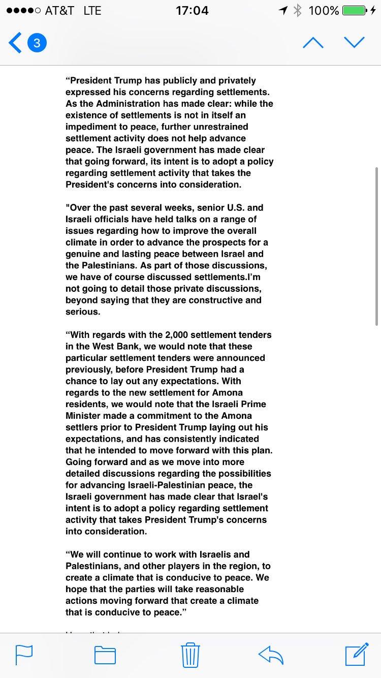 White House official on Israeli settlement announcement https://t.co/tRx7zKVuj0