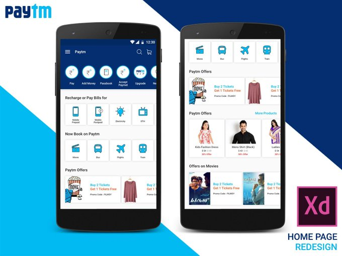 Paytm Home Page Concept Design   Ui kit by PrasathOffl freebie