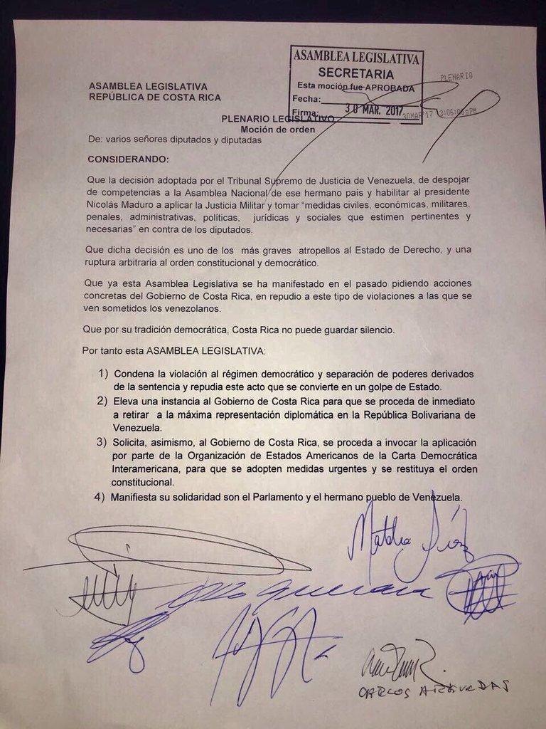 #ÚLTIMAHORA Asamblea Legislativa #CostaRica insta al gobierno a retirar inmediatamente el embajador en Caracas tras situación en Venezuela.