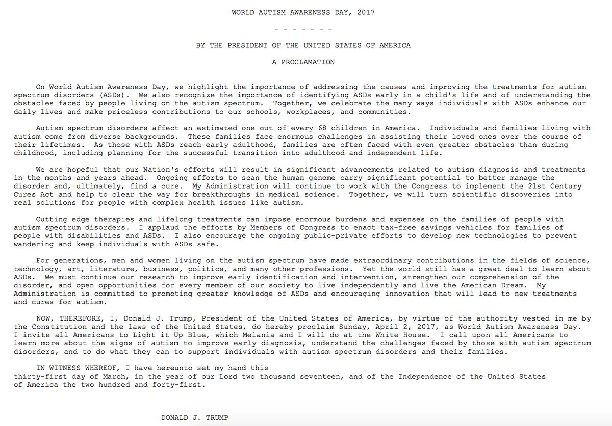 In Light Of Autism Comments White House >> White House Pres Trump Proclaims Sunday April 2 2017 As World