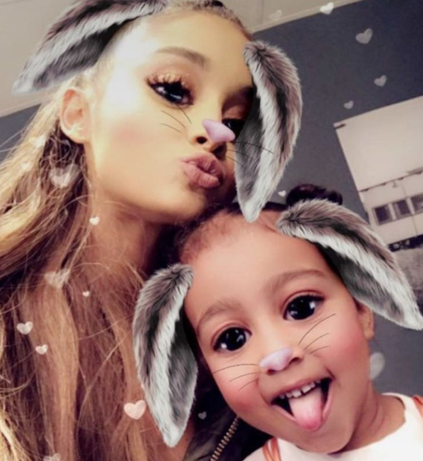 Kim Kardashian and daughter North meet ArianaGrande backstage at Forum concert
