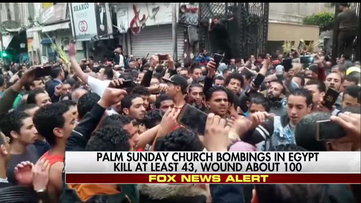 Palm Sunday church bombings in Egypt kill at least 43, wound about 100.