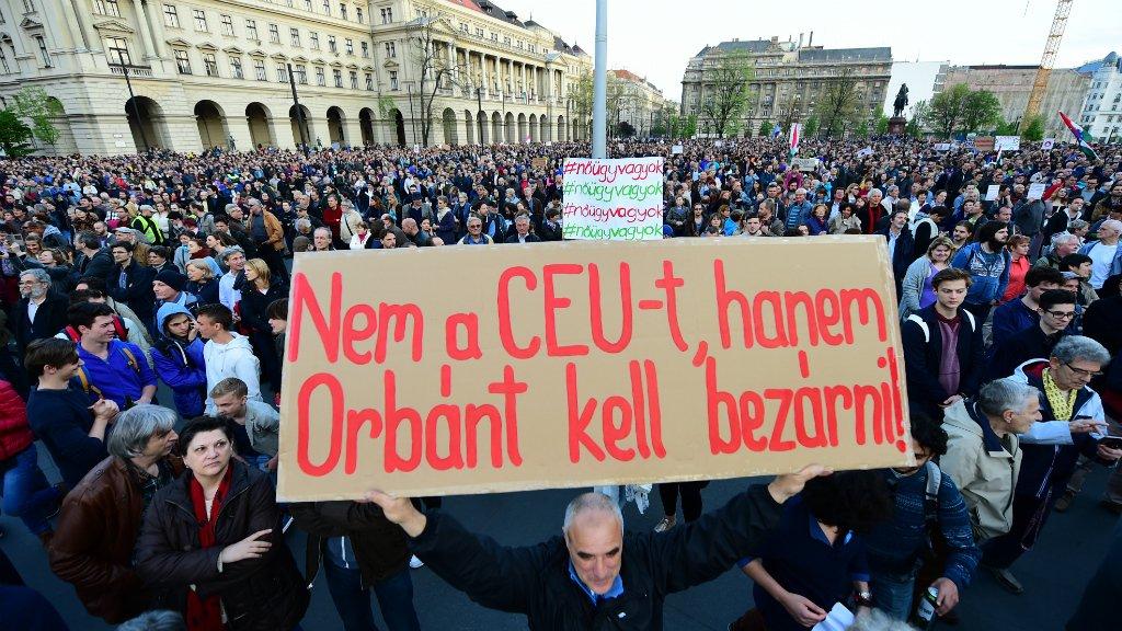 Thousands demonstrate against new Hungarian bill targeting Soros university