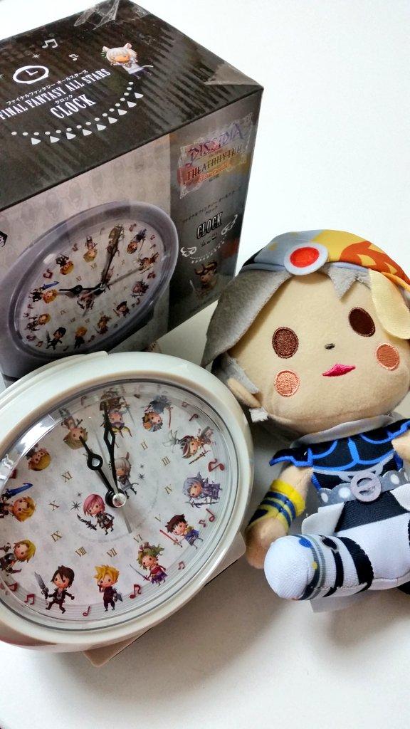 友人にクレゲでフリオのぬいぐるみと置き時計を取ってきて貰った(๑•∀•๑)イツモアリガト♡時計は目覚まし付きでFFのメ
