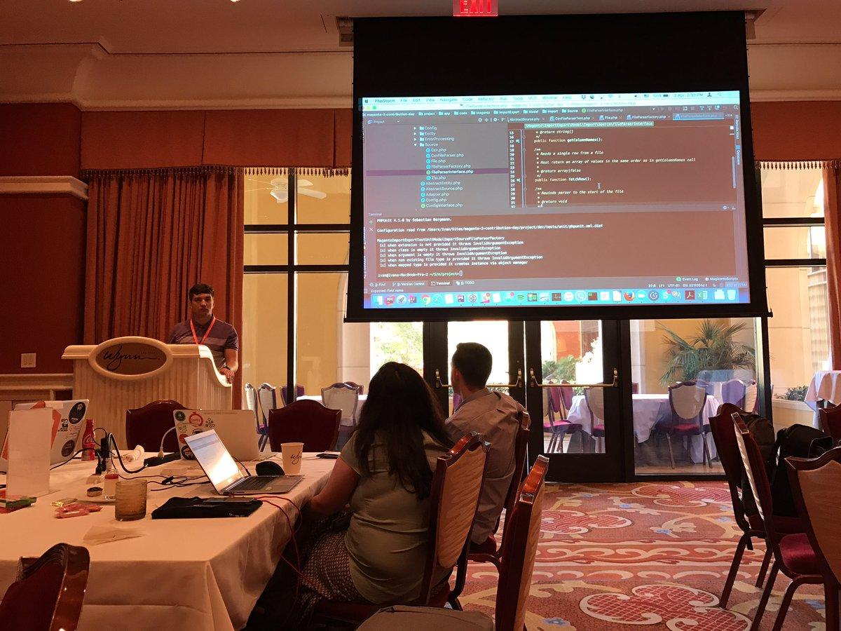 Blue_Bovine: #magentoimagine2017 #magentohackathon @IvanChepurnyi  demo 7 - support different import file types ; TDD dev style https://t.co/ai9OEZCIAK
