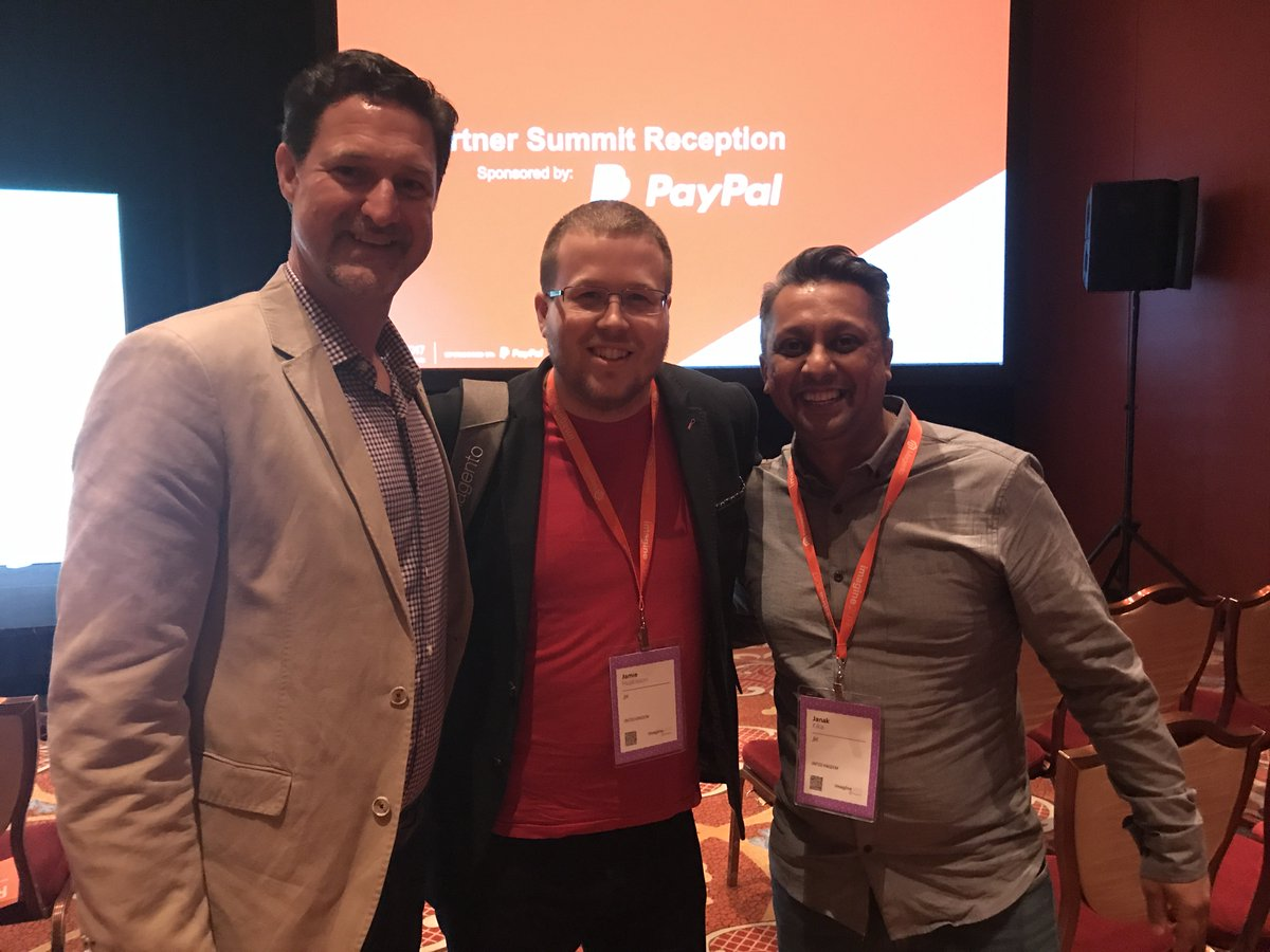 wearejh: Our MD @jhuskisson and Head of Accounts @janakkika just caught a selfie with @magento CEO @mklave1   #MagentoImagine https://t.co/1T1GqiJFms