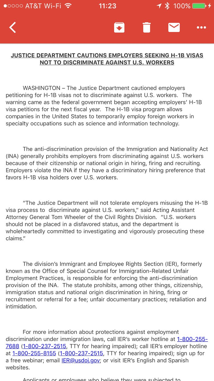 Inbox: DOJ warns employers on H-1B visas https://t.co/9XtW709OBR