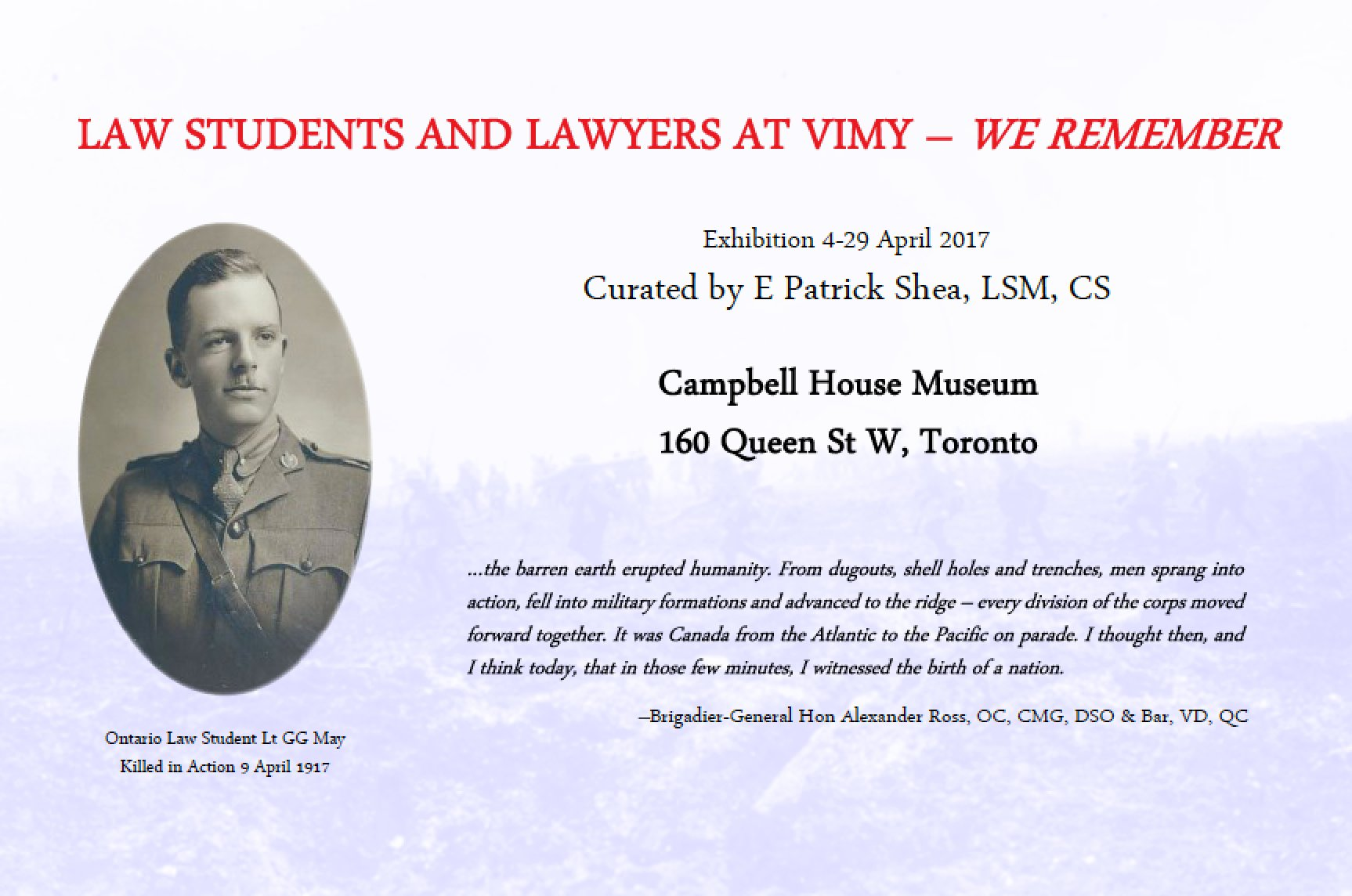 Exhibition: Law Students and Lawyers at Vimy - We Remember. Campbell House Museum 4-29 April https://t.co/WSO7911Ee9