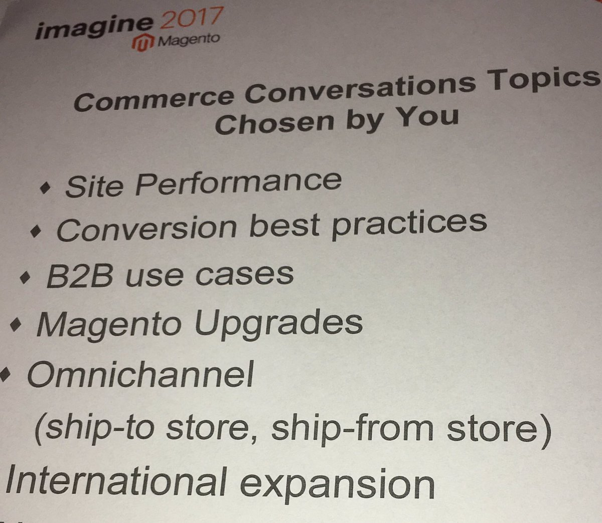 benjaminrobie: Time for some #commerceConversations! #MagentoImagine https://t.co/d6mH3fkNk0