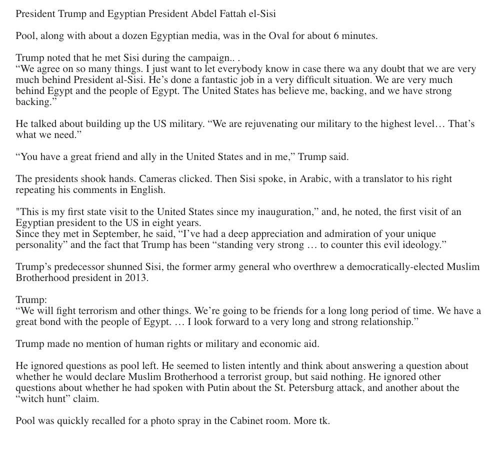 Trump + el-Sisi Bromance via pooler @toddgillman https://t.co/BaqyJWSdqO
