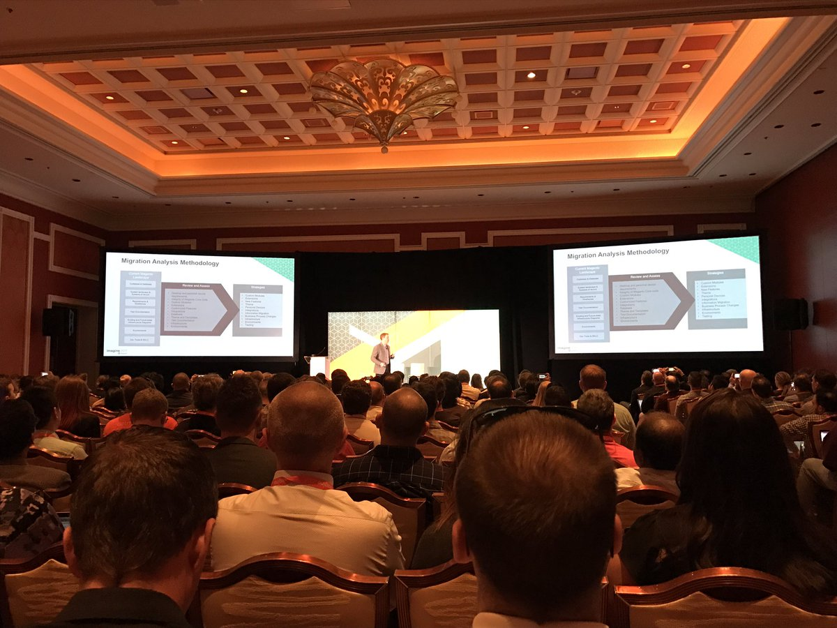 wearejh: Packed room for @gordonknoppe and @jcowie covering migrating from Magento 1 to Magento 2 #MagentoImagine https://t.co/tAckd14yJ1