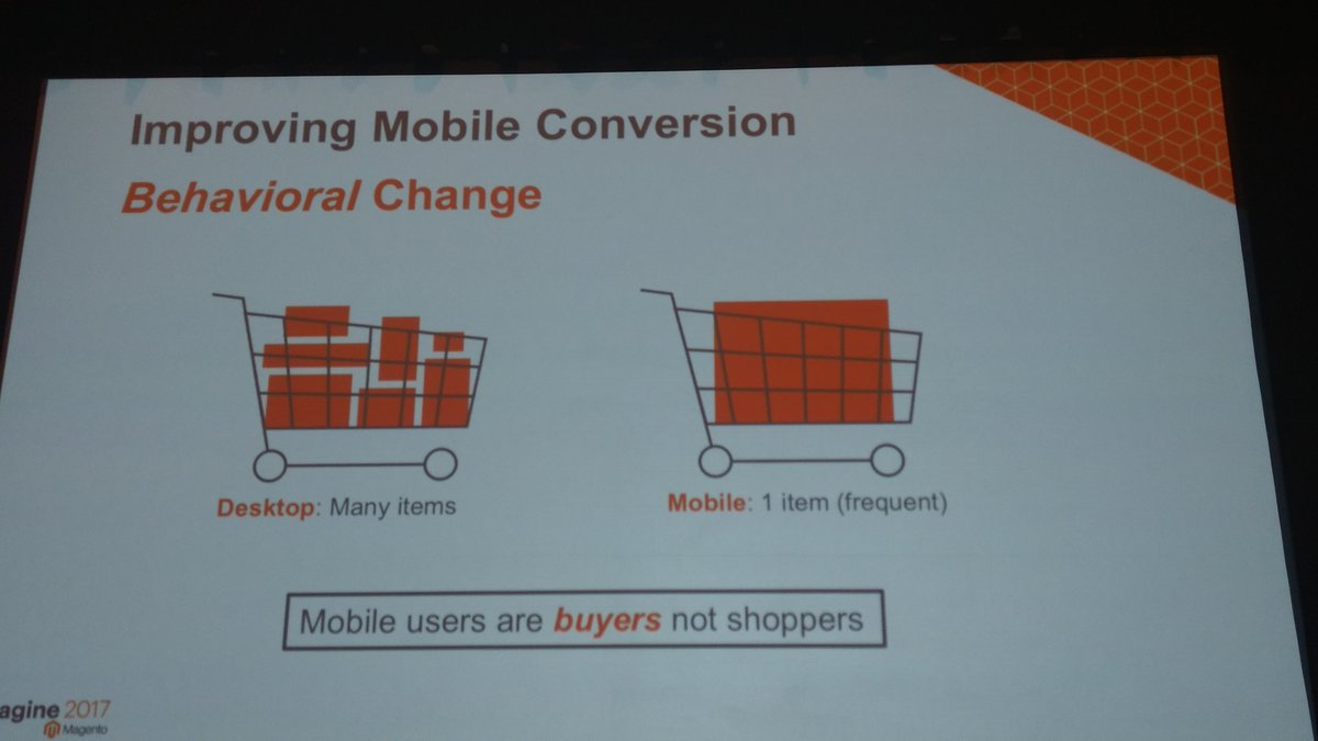 tig_nl: Mobile users are buyers not shoppers. #Magentoimagine with @benmarks https://t.co/NGh5nlL8Rb