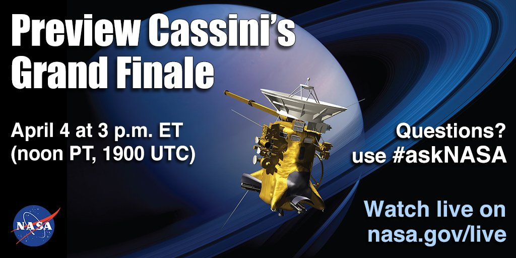 Join us at 3pm EDT on April 4 for a look at @CassiniSaturn's Grand Finale. Learn more: https://t.co/f1viirD72I https://t.co/RHHCrsl1D8