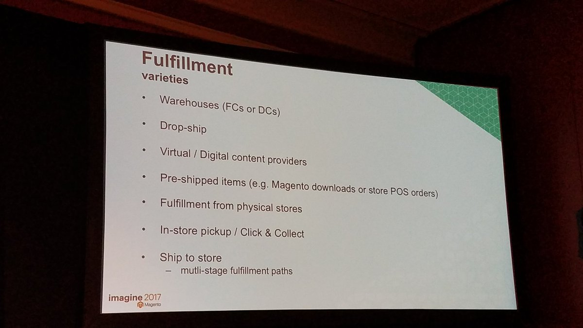 summasolutions: Many fulfillment options with MCOM. Real world use cases. #MagentoImagine https://t.co/9R4gnw7Y14