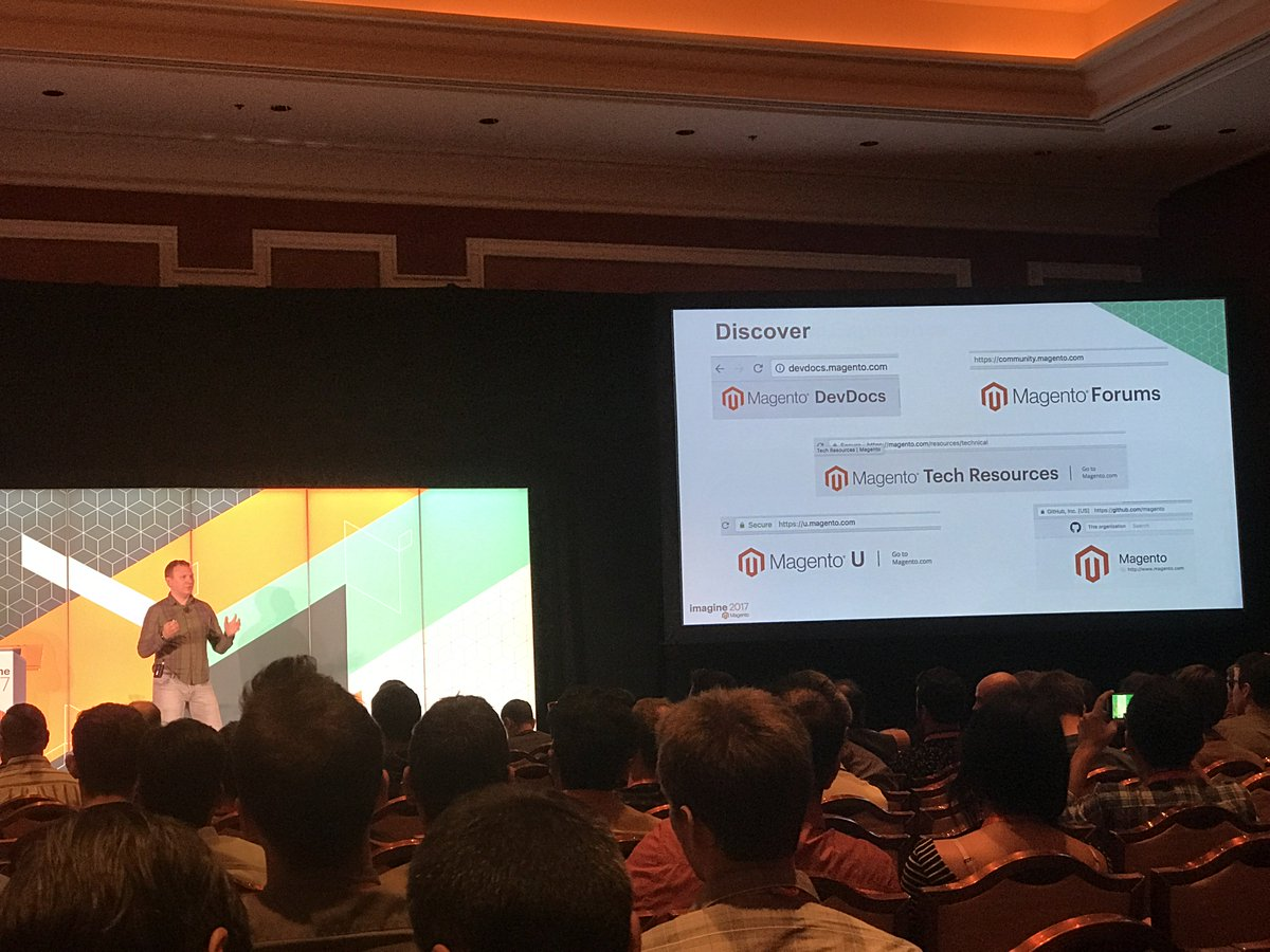 JohnHughes1984: @maksek_ua outlining the key resources provided by @magento nnEvery dev should be utilising these! #MagentoImagine https://t.co/KFVO5fnly6